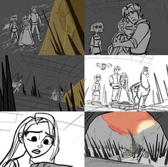 """Some of my boards from """"Quest For Varian! All Disney Movies, Disney Wiki, Disney And Dreamworks, Disney Pixar, Storyboard Drawing, Animation Storyboard, Disney Animation, Tangled Series, Tangle Doodle"""