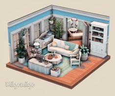 Sims 4 House Design, Sims 4 Houses, My Sims, Coastal Style, Dollhouses, Content, Living Room, Check, Instagram