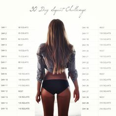 "30 day squat challenge.   a pinner says: ""I'm only on day three and I think my butt is falling off."""