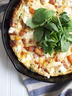 roasted potato, greens, and goat cheese frittata.