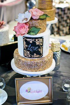 Spectacular metallic cake by Sugar + Spice Custom Cakes