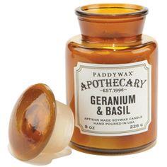 Geranium & Basil Apothecary Bottle Candle