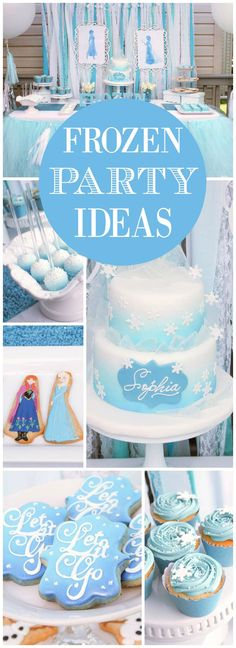 You have to see this gorgeous Frozen party in ombre shades! See more party ideas at CatchMyParty.com!