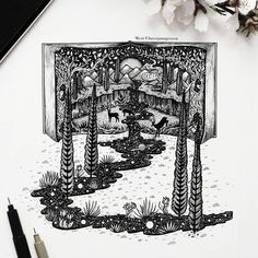 Imagination Pouring out of the Book. Fantasy and Surrealism in Ink Illustrations. By Meni Chatzipanagiotou Dotted Drawings, Ink Pen Drawings, Cool Drawings, Pen Illustration, Ink Illustrations, Pen Art, Art Plastique, Aesthetic Art, Doodle Art