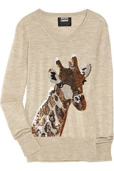 A giraffe sweater is awesome, but a Sequin giraffe sweater is awesomer.
