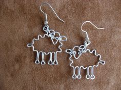 SHEEPS EARRINGS for knitters wire wrapped by chatnoir77 on Etsy