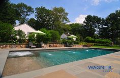 Rectangle Gunite Swimming Pool, Automatic Cover, Tahoe Blue Pebble, In Floor Cleaning System, Ozone/UV Sanitizing