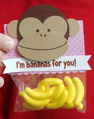 Sock Monkey Party Ideas: banana runts party favor-wouldn't put that monkey on the baggie but cute idea w/the banana runts! Sock Monkey Party, Sock Monkey Birthday, Monkey Birthday Parties, Birthday Ideas, Curious George Party, Festa Party, Joko, Valentine Day Crafts, Valentine Tree