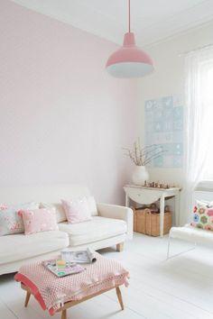 Pared en color rosa pastel