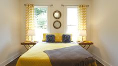 Looking for Yellow Transitional Bedroom ideas? Browse Yellow Transitional Bedroom images for decor, layout, furniture, and storage inspiration from HGTV. Gray Bedroom, Home Bedroom, Masters Of Flip, Transitional Bedroom, Bedroom Images, Gothic House, Beautiful Bedrooms, Hgtv, Living Spaces