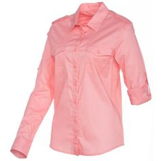 The Magellan Outdoors™ Women's Adventure Gear Happy Camper Solid Roll Up Long Sleeve Shirt is made of cotton and features 2 chest pockets.
