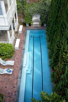 Chuck Chewning reimagines one of the grandest townhouses in Savannah, Georgia, for one of the city's top restaurateurs. Swimming Pool Designs, Swimming Pools, Lap Pools, Indoor Swimming, Dark Brown Walls, Sweet Home, Outdoor Retreat, Outdoor Living, Outdoor Decor