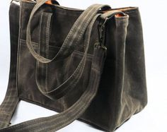 Wax Canvas City Tote Bucket Bag Messenger Purse Shoulder Strap Vegan Leather by WhiteCross Designs MGX TOTE ships from USA Made to Order