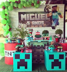 7th Birthday Party Ideas, Minecraft Birthday Party, Minion Birthday, Boy Birthday, Birthday Party Decorations, Minecraft Gifts, Minecraft Party Decorations, Minecraft Cake, Creeper Minecraft