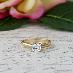 1 ct Solitaire Ring, 14k Yellow Gold, Criss Cross Ring, Engagement Ring, Man Made Diamond Simulant, Wedding Ring, Bridal Ring, Promise Ring