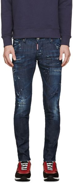 Dsquared2 - Blue Burned Baffo Clement Jeans