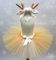 "Reindeer Tutu Skirt Children's Costume Set w/ Antler Headband  My adorable handmade Reindeer Tutu Skirt Costume Set is perfect for a First Christmas Photo Shoot! The tutu skirt is 10"" long with a stre"