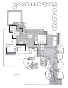 Case Study House n° 5 - Loggia House - Whitney Smith Small House Plans, House Floor Plans, Architectural Floor Plans, Interior Design Presentation, Vintage House Plans, Study Architecture, Unique House Design, Home Building Design, House Drawing