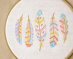 Boho, crafts, hand embroidery patterns, feather embroidery, boho nursery decor by NaiveNeedle This is a digital hand embroidery pattern in PDF format (English). Learn Embroidery, Silk Ribbon Embroidery, Embroidery For Beginners, Crewel Embroidery, Embroidery Hoop Art, Hand Embroidery Patterns, Vintage Embroidery, Embroidery Techniques, Machine Embroidery