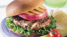 Blue Cheese Burgers with Red Onions ~ It's grilling at its best!  Tasty seasoned burgers and red onion slices both cook on the grill.  Rye burger buns add just the right final touch.