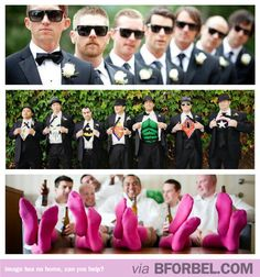 Adorable wedding pictures from the dude side of things. I like the socks n glasses but the shirts thing is played out