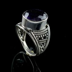 925 Sterling Silver Natural Amethyst Gemstone Handmade Mens Ring Size 5.25 US #Handmade #Cluster #Party