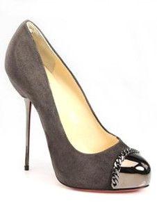 Brilliant Gray 4 3/4'' High Heel 4/5'' Platform Flannel Womens Pumps