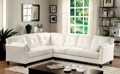 Peever White Sectional Sofa Furniture Of America Sectional Sofas White Sectional Sofa, Living Room Sectional, White Sofas, Leather Sectional, White Living Room Set, Living Room Sets, Sofa Furniture, Living Room Furniture, Furniture Stores