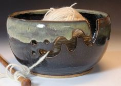 Nice Yarn Bowls: Bridges Pottery Yarn Bowl LARGE  Midnight Blue by bridgespottery on etsy