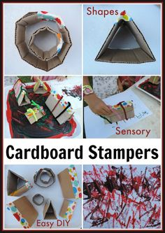 DIY Shape and sensory stampers...easy to make and for little hands to use!