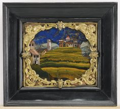Italian, Florence, first quarter of the 17th century, a pair of plaques each depicting a landscape, commesso di pietre dure with ebony and gilt-copper mounts