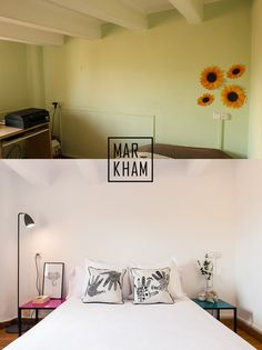 By making the space whiter and minimalistic, it almost reduces stress. The second angle also really helps show off the space. Home Staging, Reduce Stress, Two By Two, Minimalist, Bedroom, Space, Barcelona, Bright, Home Decor