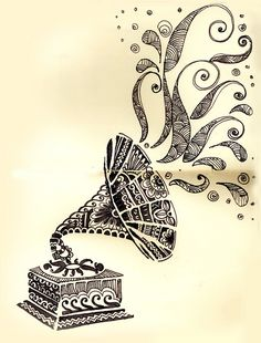 Gramophone Art. This would be an awesome tattoo. Maybe with music notes coming out of the gramophone though