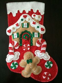 Bucilla Christmas Stocking Gingerbread by HelenHolidayWorkshop Easy Christmas Crafts, Felt Christmas Ornaments, Christmas Gingerbread, Rustic Christmas, Christmas Stockings, Christmas Holidays, Felt Stocking, Christmas Stocking Stuffers, Felt Ornaments Patterns