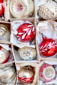 Red and white vintage Christmas ornaments