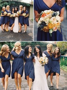 Super cute blue bridesmaid dresses that are classy and comfy! Navy Blue Bridesmaids, Bridesmaids And Groomsmen, Wedding Bridesmaids, Wedding Attire, Wedding Dresses, Dark Blue Bridesmaid Dresses, Wedding Navy, Orange Wedding, Cute Blue Dresses