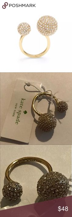 KATE SPADE RING IT UP STATEMENT RING ❤️AUTHENTIC KATE SPADE ❤️Ring It Up ring ❤️new never used ❤️gold plated finish ❤️clear pave stones ❤️bends to adjust ring size ❤️retail $78 ❤️sorry no trading ❤️sorry no holds ❤️thanks for stopping by my closet kate spade Jewelry Rings