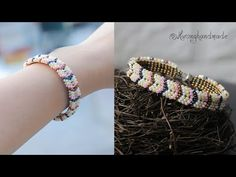 Easy to make chevron bracelet with only seed beads. - Easy to make chevron bracelet with only seed beads. Jewelry making tutorial Easy to make chevron b - Chevron Armband, Chevron Bracelet, Peyote Bracelet, Seed Bead Necklace, Seed Bead Bracelets, Seed Beads, Bead Earrings, Beaded Necklace Patterns, Beaded Bracelets Tutorial