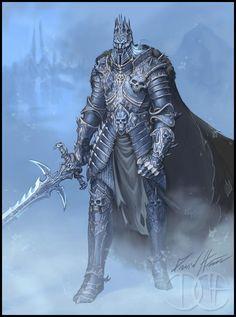 Arthas Redesign by Trollfeetwalker on DeviantArt Warcraft Art, World Of Warcraft, Dark Fantasy Art, Fantasy World, King Drawing, Best Armor, Lich King, Dark Knight, Character Inspiration