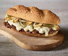Loaded Philly Cheesesteak Sandwich with Tre Stelle® Provolone Cheese Slices Philly Cheese Steak, Top Sirloin Steak, Panini Sandwiches, Steak And Mushrooms, How To Cook Steak, Base Foods, Cheesesteak, Pulled Pork, Brunch Recipes