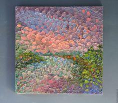 Oil painting / Пейзаж ручной работы. Ярмарка Мастеров - ручная работа. Купить Весенний вечер. Handmade. Бледно-сиреневый, небо, рельефная картина