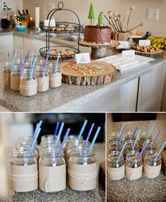 use mason jars with burlap and twine with colored straws for a pop of color