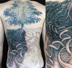 Unbelievable designed black and white big lonely tree with DNA tattoo on whole back Plus