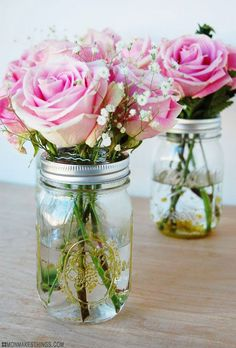 Guilded Gold Mason Jar Vases