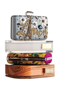 Lanvin's Lucite and wood Piano clutches; embroidered Sea Breeze clutches.  [Photo by Frederic Boyadjian]