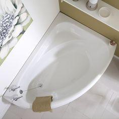 Milano - White Modern Right Hand Corner Bath with Panel - x (No Tap-Holes)