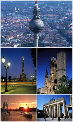 Berlin From top left: Fernsehturm, Siegessäule, Kaiser-Wilhelm-Gedächtniskirche, Spree river, Brandenburger Tor