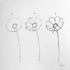 Korean Artist Uploads Step by Step Instructions for Drawing Beautiful Flowers - . - Korean Artist Uploads Step by Step Instructions for Drawing Beautiful Flowers - - # Instructions # Flowers Pencil Art Drawings, Art Drawings Sketches, Easy Drawings, People Drawings, Disney Drawings, Simple Cute Drawings, Easy Flower Drawings, Flower Drawing Tutorials, Art Tutorials