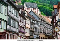 stock photo : Fachwerk house line in an old gothic german town