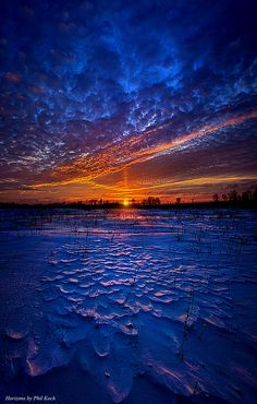 Winter sunset in Wisconsin